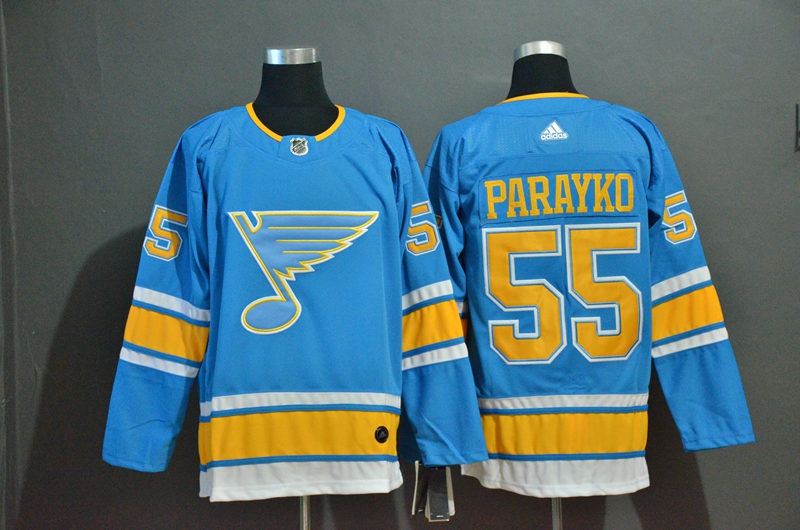 Blues 55 Colton Parayko Light Blue Adidas Jersey