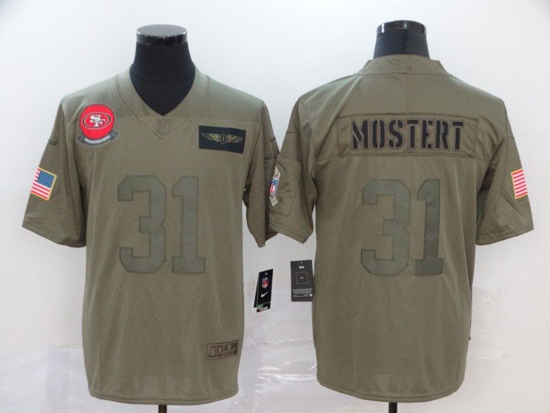 Nike 49ers 31 Raheem Mostert Olive Salute To Service Limited Jersey