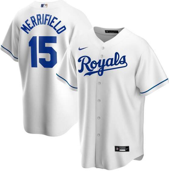 Royals 15 Whit Merrifield White 2020 Nike Cool Base Jersey