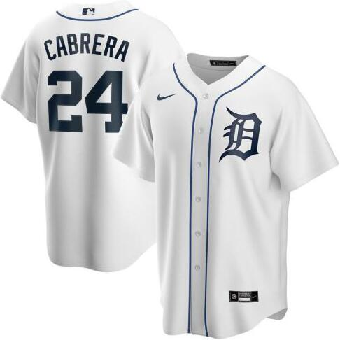 Tigers 24 Miguel Cabrera White 2020 Nike Cool Base Jersey