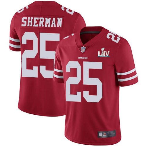 Nike 49ers 25 Richard Sherman Red 2020 Super Bowl LIV Vapor Untouchable Limited Jersey