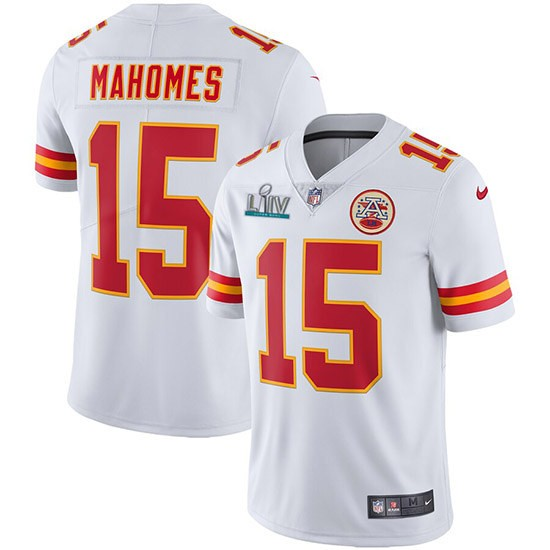 Nike Chiefs 15 Patrick Mahomes White 2020 Super Bowl LIV Vapor Untouchable Limited Jersey