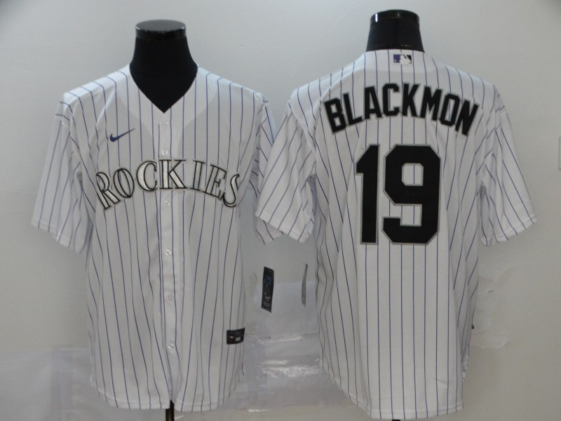 Rockies 19 Charlie Blackmon White 2020 Nike Cool Base Jersey