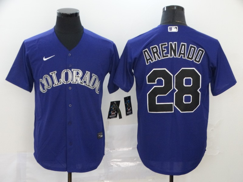 Rockies 28 Nolan Arenado Purple 2020 Nike Cool Base Jersey