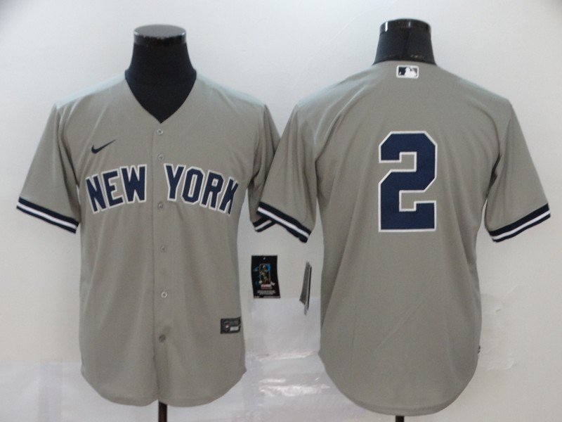 Yankees 2 Derek Jeter Gray 2020 Nike Cool Base Jersey