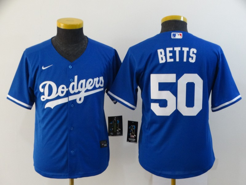 Dodgers 50 Mookie Betts Royal Youth 2020 Nike Cool Base Jersey