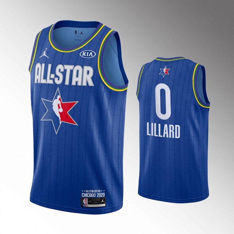 Blazers 0 Damian Lillard Blue 2020 NBA All-Star Jordan Brand Swingman Jersey