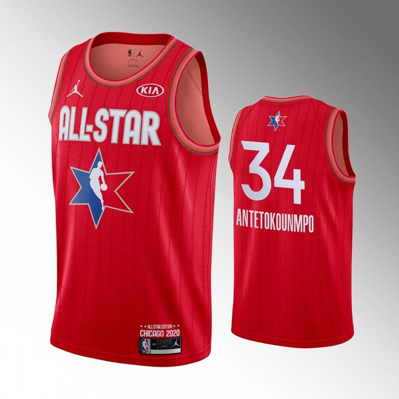 Bucks 34 Giannis Antetokounmpo Red 2020 NBA All-Star Jordan Brand Swingman Jersey