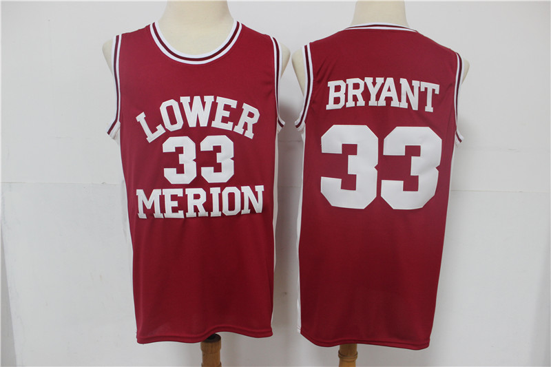 Lower Merion Aces 33 Kobe Bryant Red High School Basketball Jersey