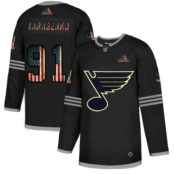 Blues 91 Vladimir Tarasenko Black USA Flag Fashion Adidas Jersey