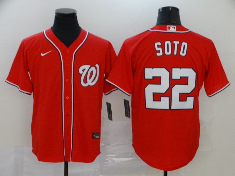 Nationals 22 Juan Soto Red Nike 2020 Cool Base Jersey