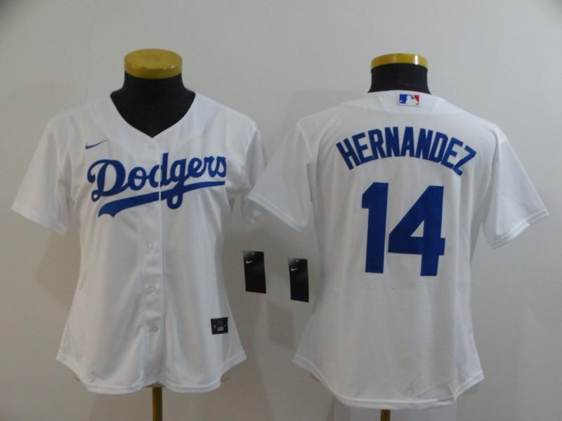 Dodgers 14 Enrique Hernandez White Women 2020 Nike Cool Base Jersey