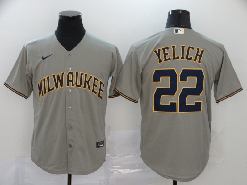 Brewers 22 Christian Yelich Gray Nike 2020 Cool Base Jersey