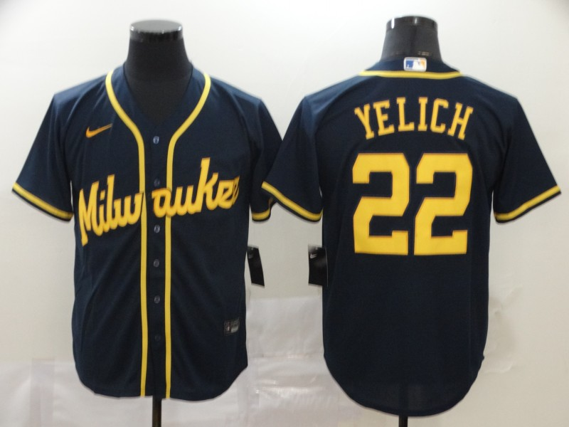 Brewers 22 Christian Yelich Navy Nike 2020 Cool Base Jersey