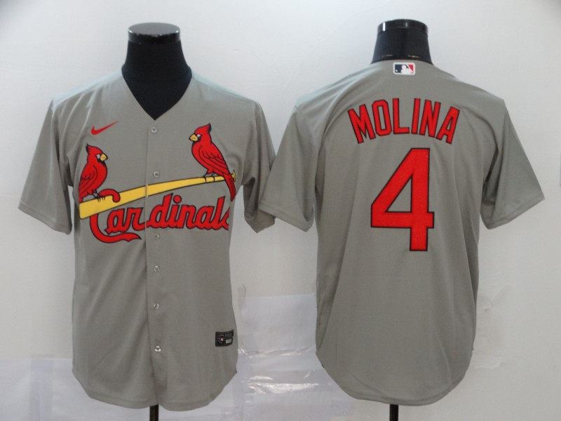 Cardinals 4 Yadier Molina Gray 2020 Nike Cool Base Jersey