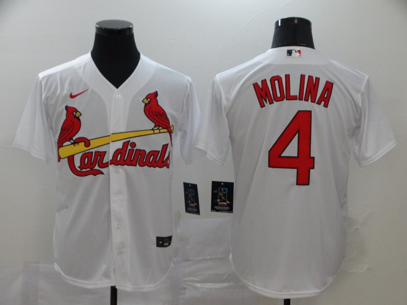 Cardinals 4 Yadier Molina White 2020 Nike Cool Base Jersey