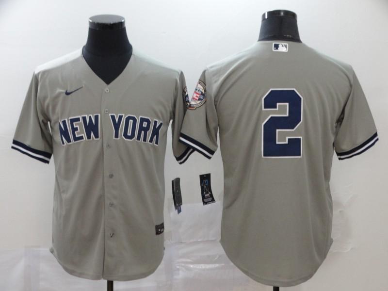 Yankees 2 Derek Jeter Gray Nike 2020 Nike Hall of Fame Induction Cool Base Jersey