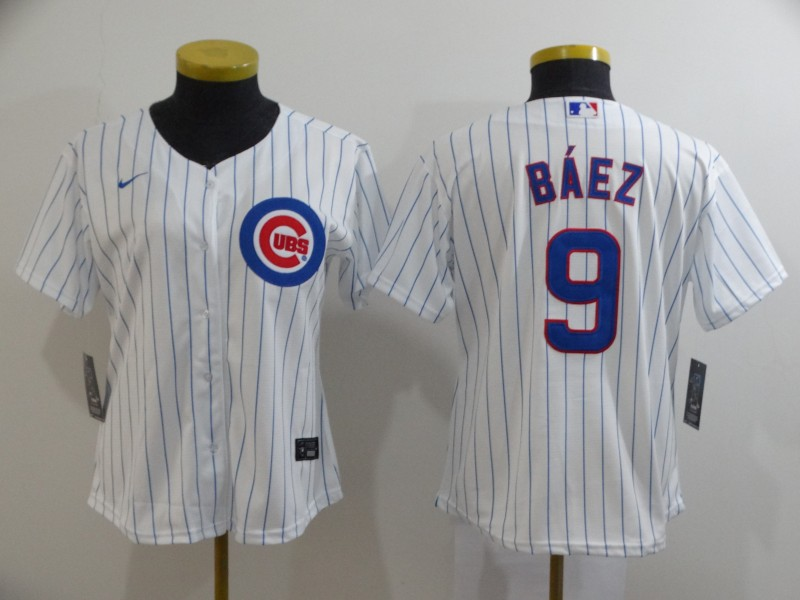 Cubs 9 Javier Baez White Women 2020 Nike Cool Base Jersey