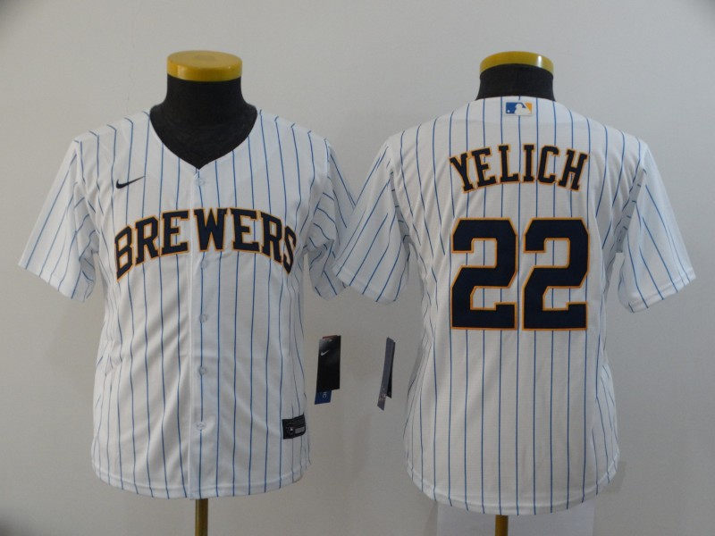 Brewers 22 Christian Yelich White Youth Nike 2020 Cool Base Jersey