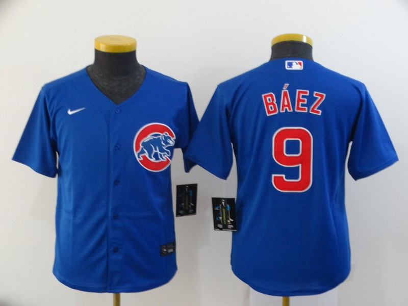 Cubs 9 Javier Baez Royal Youth 2020 Nike Cool Base Jersey