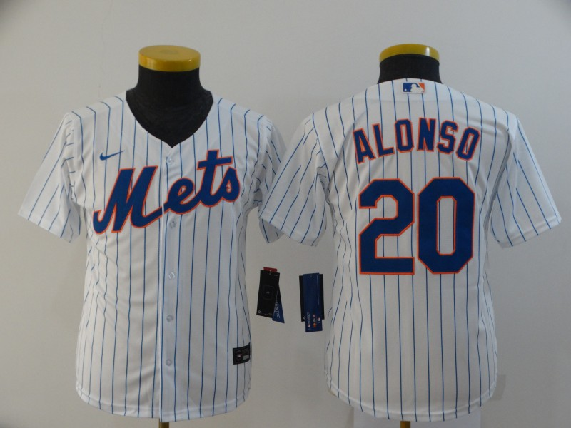Mets 20 Pete Alonso White Youth 2020 Nike Flexbase Jersey