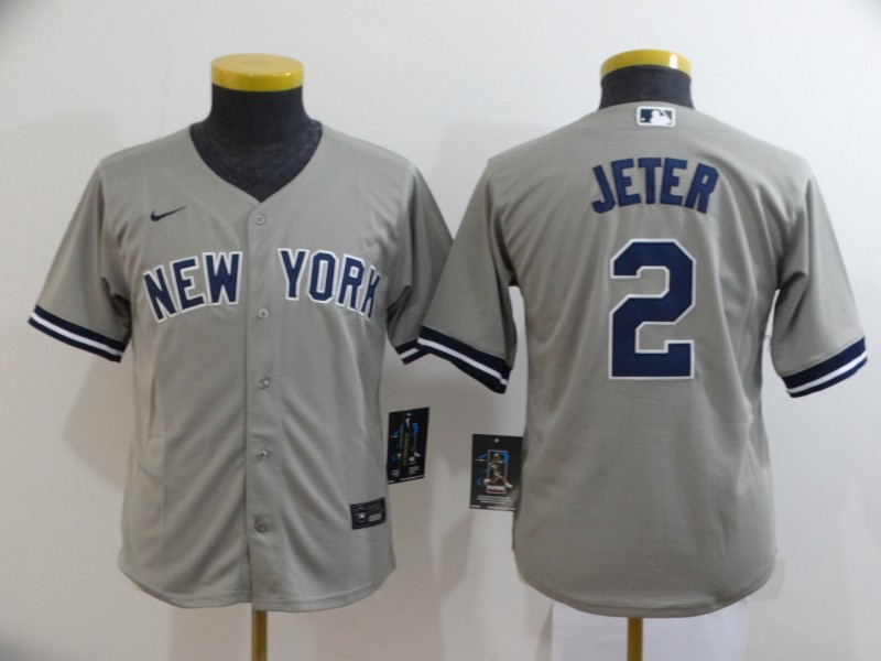 Yankees 2 Derek Jeter Gray Youth 2020 Nike Cool Base Jersey