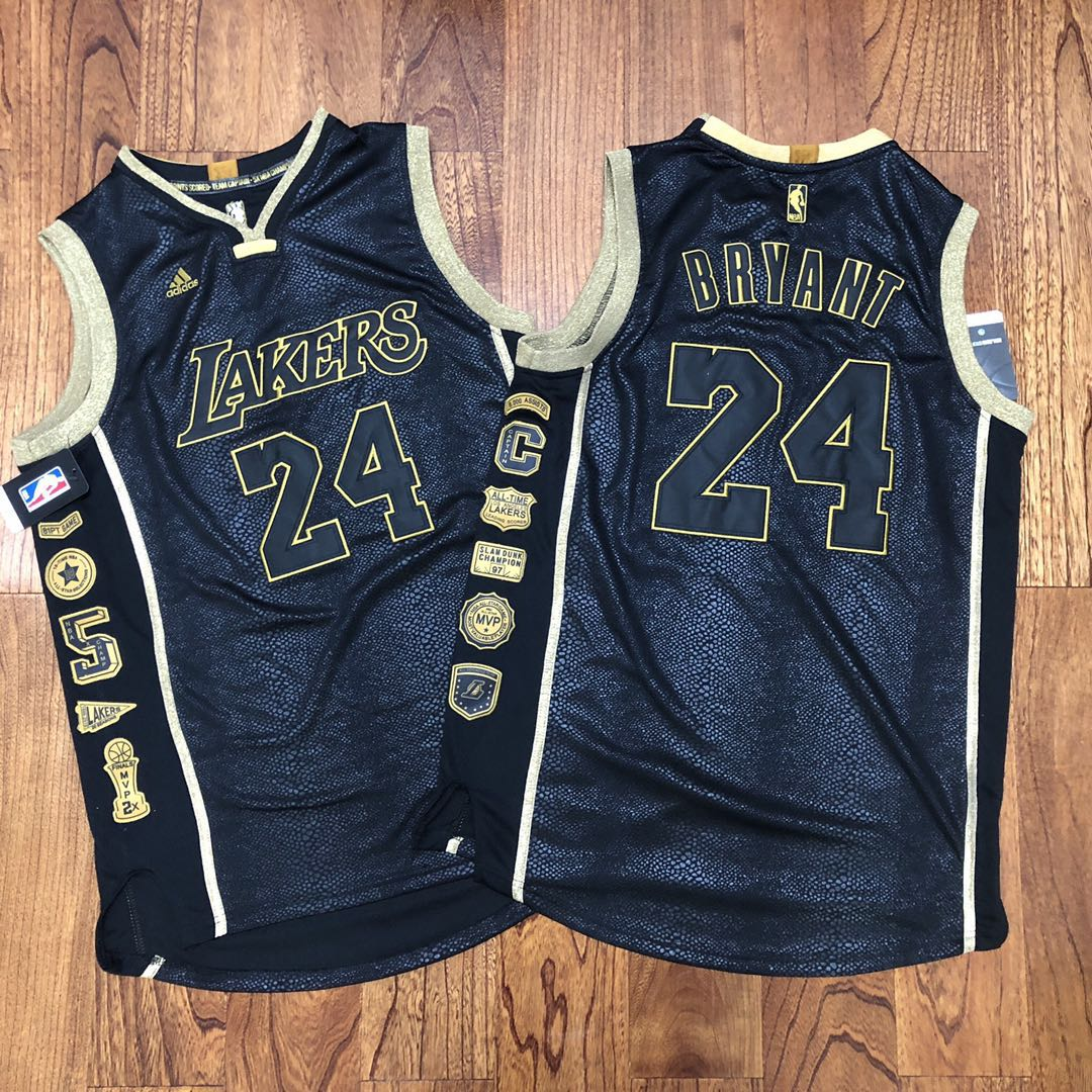 Lakers 24 Kobe Bryant Black Commemorative Edition Swingman Jersey