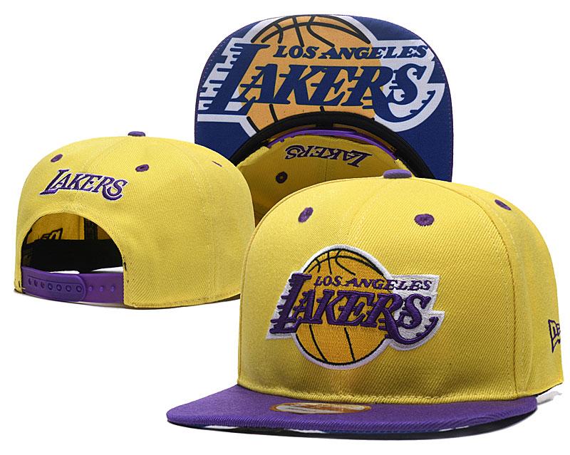 Lakers Team Logo Yellow Adjustable Hat TX
