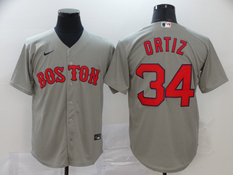 Red Sox 34 David Ortiz Gray 2020 Nike Cool Base Jersey