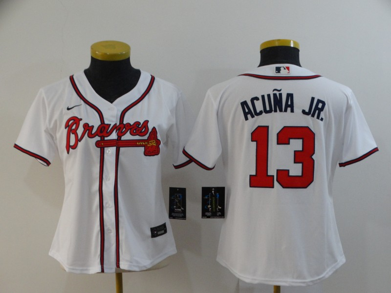 Braves 13 Ronald Acuna Jr. White Women 2020 Nike Cool Base Jersey