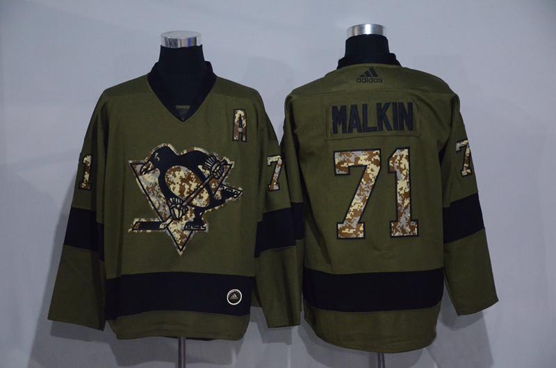 Penguins 71 Evgeni Malkin Olive Adidas Jersey
