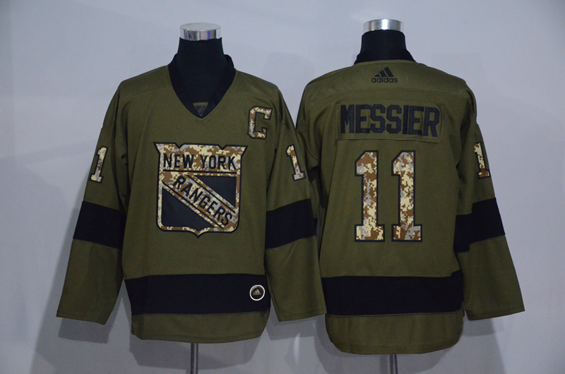 Rangers 11 Mark Messier Olive Adidas Jersey