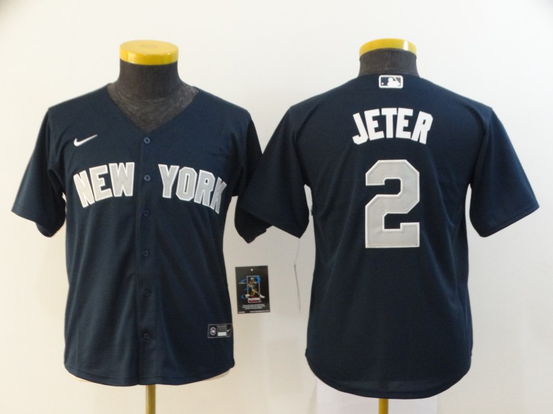 Yankees 2 Derek Jeter Navy Youth 2020 Nike Cool Base Jersey