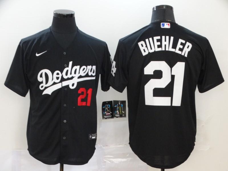 Dodgers 21 Walker Buehler Black 2020 Nike Cool Base Jersey
