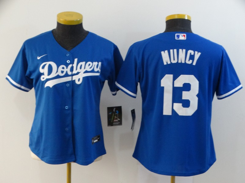 Dodgers 13 Max Muncy Royal Women 2020 Nike Cool Base Jersey