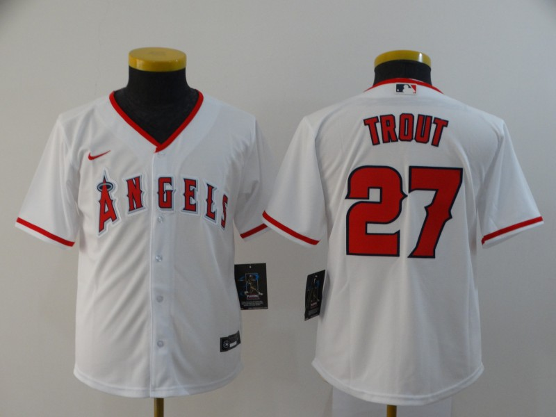 Angels 27 Mike Trout White Youth 2020 Nike Cool Base Jersey