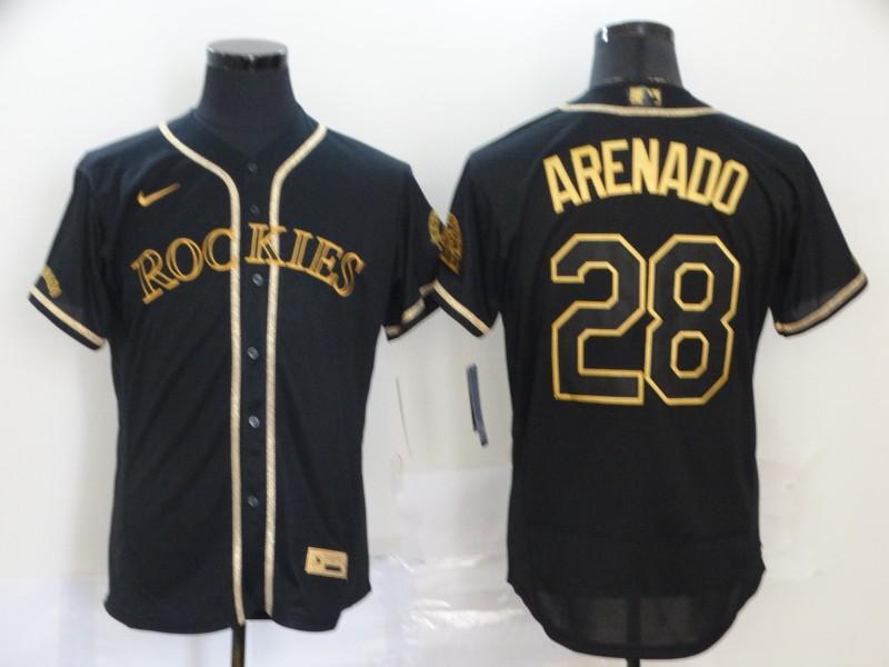 Rockies 28 Nolan Arenado Black Gold 2020 Nike Flexbase Jersey