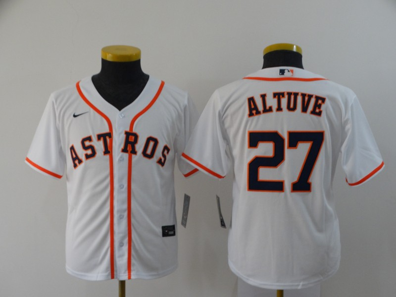 Astros 27 Jose Altuve White Youth 2020 Nike Cool Base Jersey
