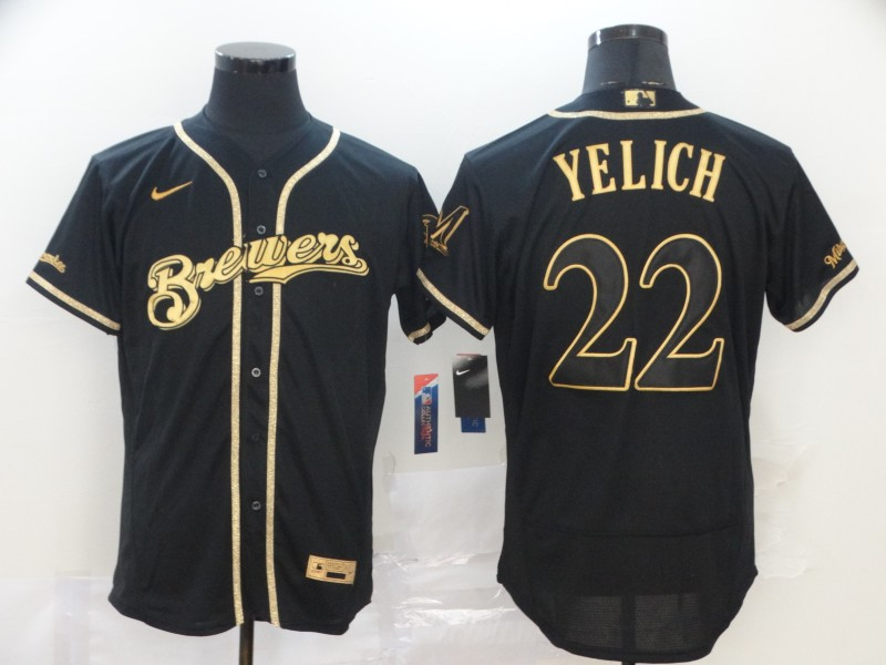 Brewers 22 Christian Yelich Black Gold Nike 2020 Flexbase Jersey