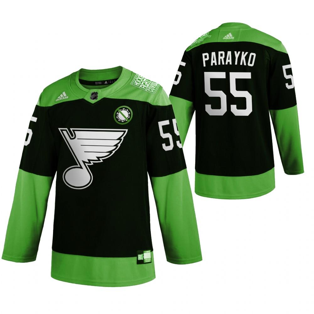 Blues 55 Colton Parayko Green 2020 Adidas Jersey