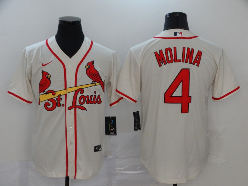 Cardinals 4 Yadier Molina Cream 2020 Nike Cool Base Jersey