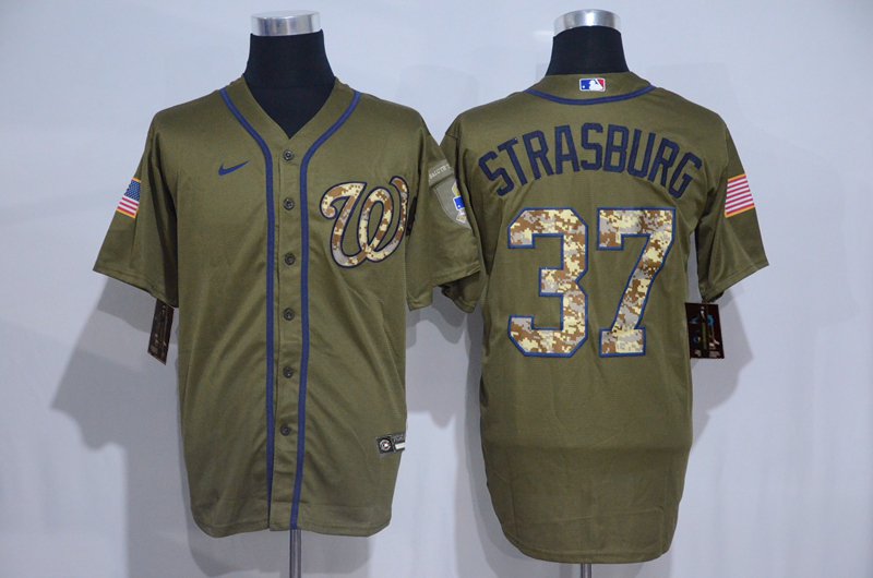 Nationals 37 Stephen Strasburg Olive 2020 Nike Cool Base Jersey