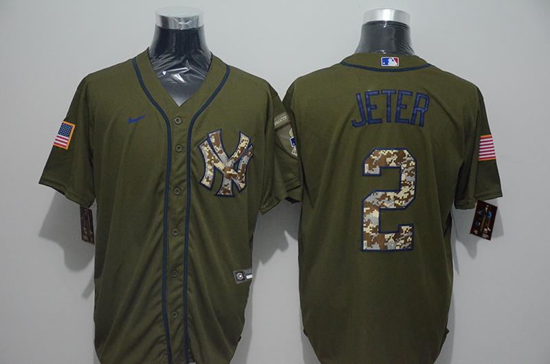 Yankees 2 Derek Jeter Olive 2020 Nike Cool Base Jersey
