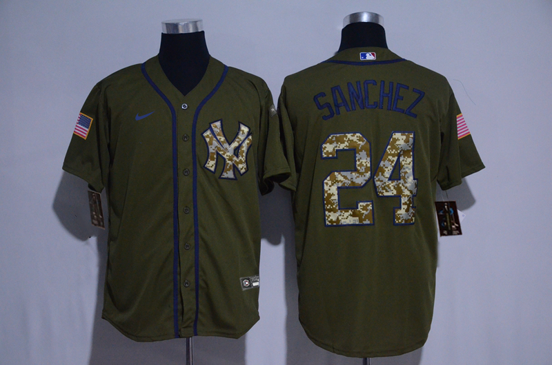 Yankees 24 Gary Sanchez Olive 2020 Nike Cool Base Jersey
