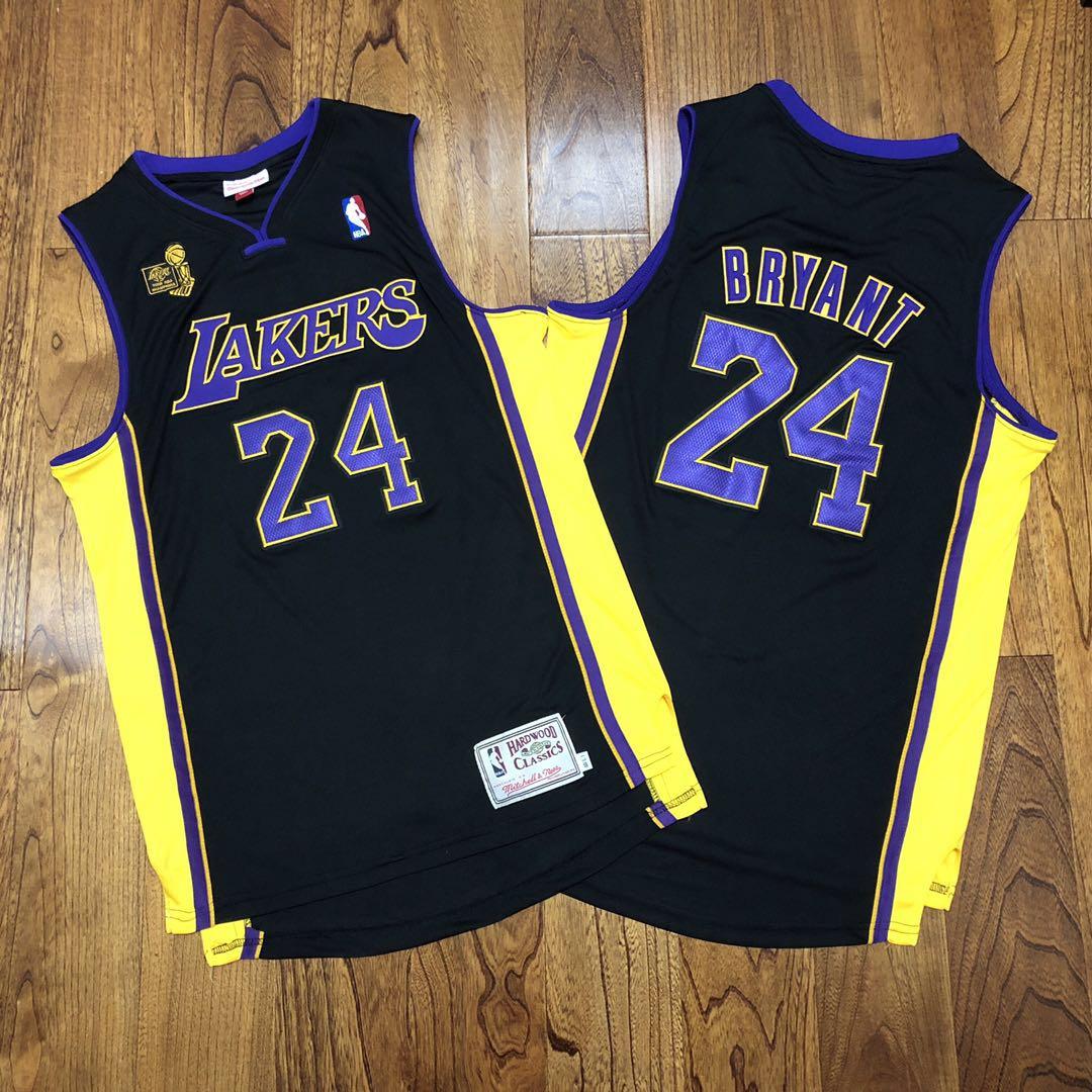 Lakers 24 Kobe Bryant Black 2009 NBA Champions Patch Adidas Hardwood Classics Jersey