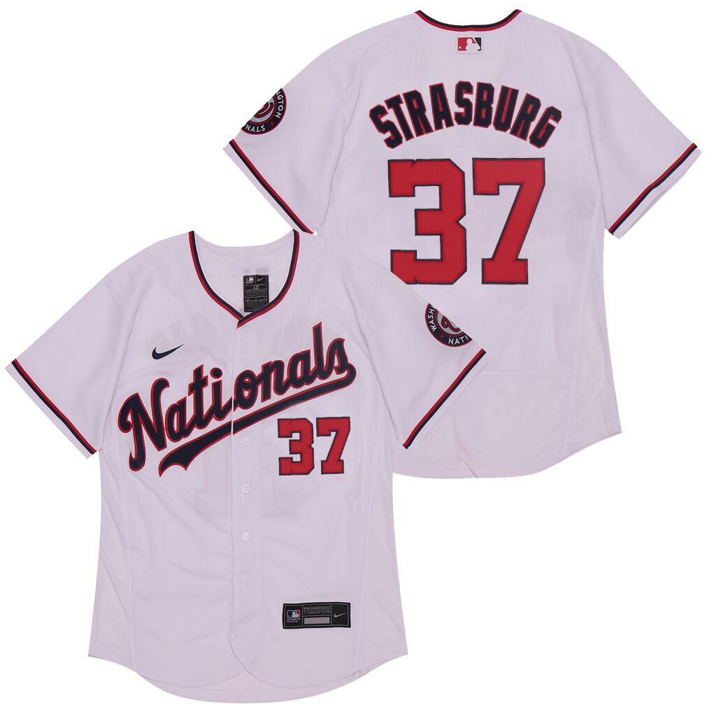 Nationals 37 Stephen Strasburg White Nike 2020 Flexbase Jersey