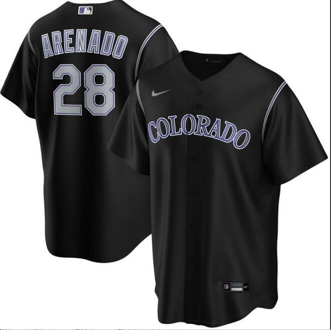 Rockies 28 Nolan Arenado Black 2020 Nike Cool Base Jersey