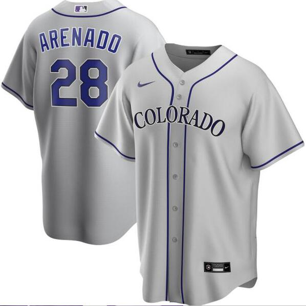 Rockies 28 Nolan Arenado Gray 2020 Nike Cool Base Jersey