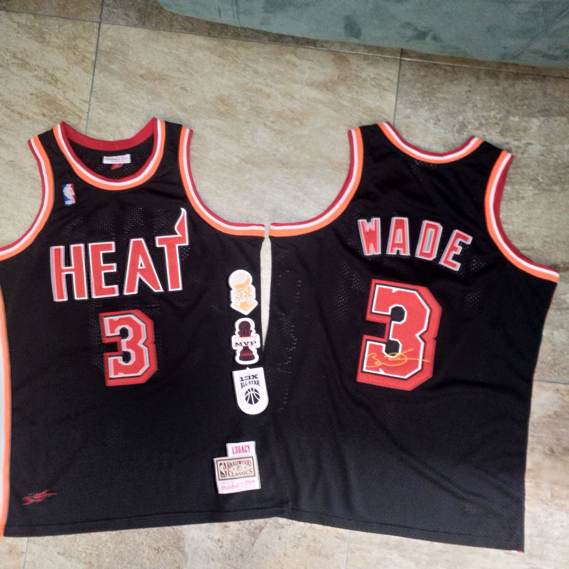 Heat 3 Dwyane Wade Black Hardwood Classics Swingman Jersey