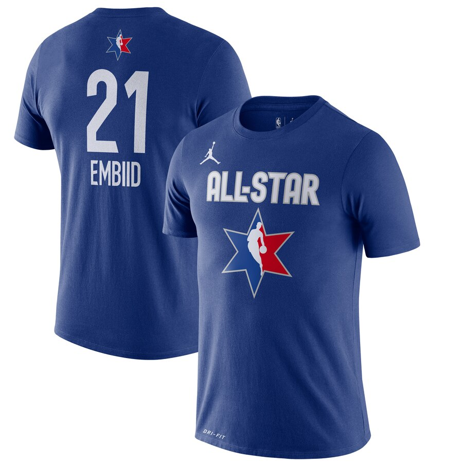 Joel Embiid Jordan Brand 2020 NBA All-Star Game Name & Number Player T-Shirt Blue